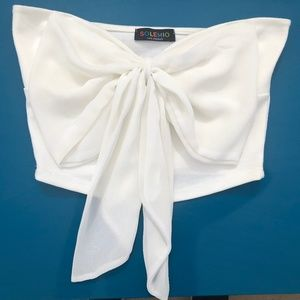 White Strapless Bow Tie Cropped Tube Top Bandeau